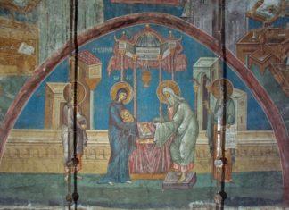 СРЕТЕНИЕ ГОСПОДНЕ. Фреска монастыря Высокие Дечаны, Косово, Сербия. Около 1350 года.