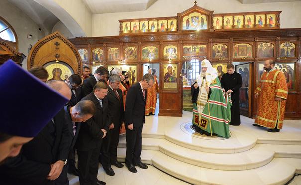 Патриарх Кирилл в Русской церкви в Белграде