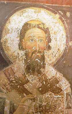 Святитель Савва Сербский. Фреска до реставрации.